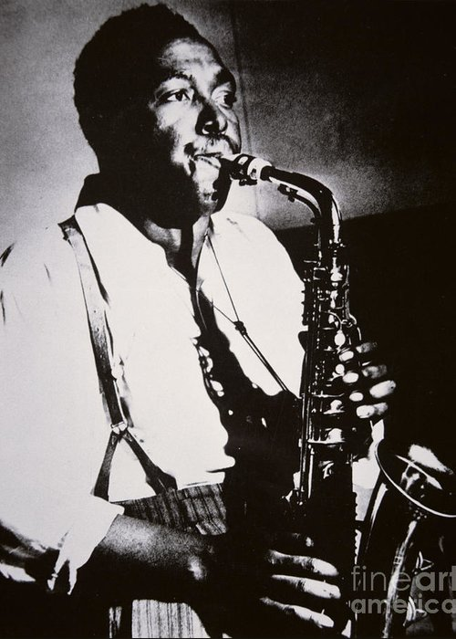 Male; Half Length; Saxophone; Musician; Musical; Instrument; Music; Black; Negro; African American; African-american; Portrait; Jazz; Saxophonist; Braces; Composer; Nickname Yardbird; Bird; Virtuoso; Suspenders; Entertainment Greeting Card featuring the photograph Charlie Parker by American School