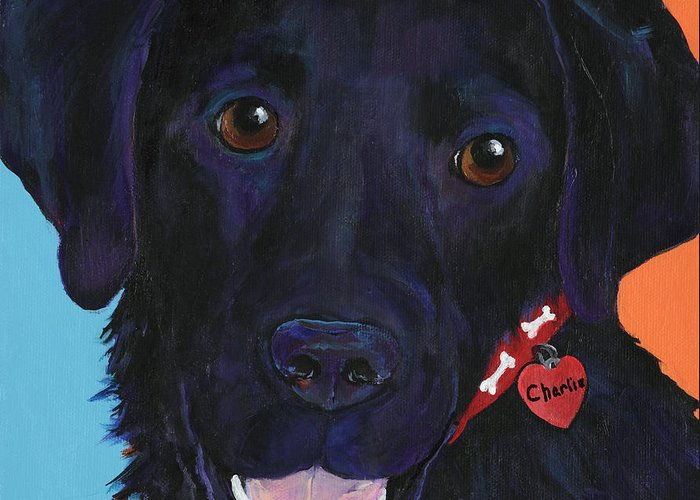Dog Art Greeting Card featuring the painting Charlie by Pat Saunders-White