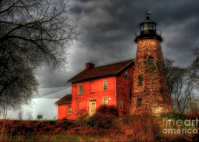 Lighthouse Greeting Card featuring the photograph Charlotte-genesee Lighthouse by Joel Witmeyer