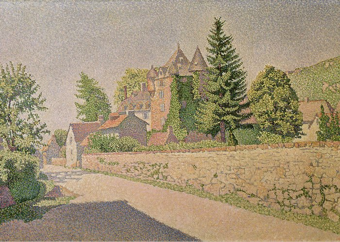 Chateau De Comblat Greeting Card featuring the painting Chateau De Comblat by Paul Signac