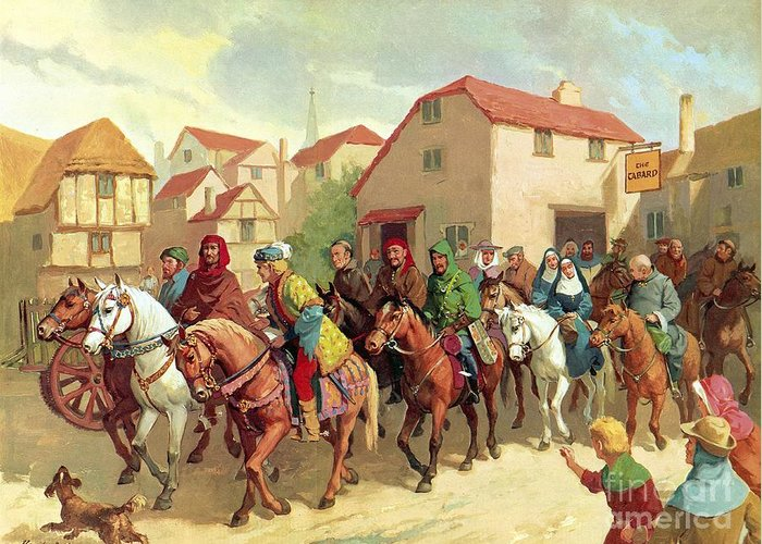 Chaucer's Pilgrims ;geoffrey Chaucer; The Canterbury Tales; Tabard Inn; Horses; Pilgrimage; To Canterbury Greeting Card featuring the painting Chaucer's Pilgrims by van der Syde