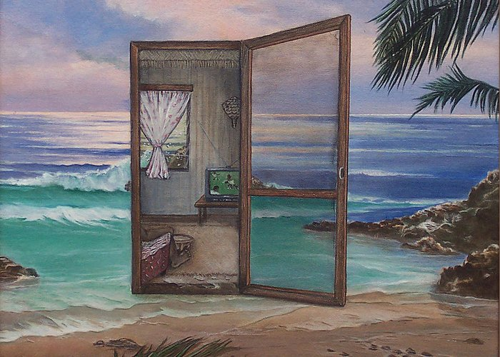 Surreal Greeting Card featuring the painting Checkin' In Checkin' Out by Sharon Ebert