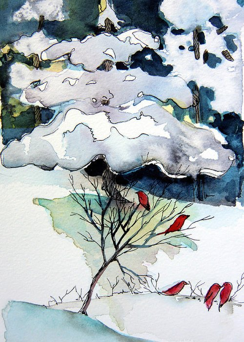 Winter Greeting Card featuring the painting Cheery Sounds On A Quiet Day by Mindy Newman