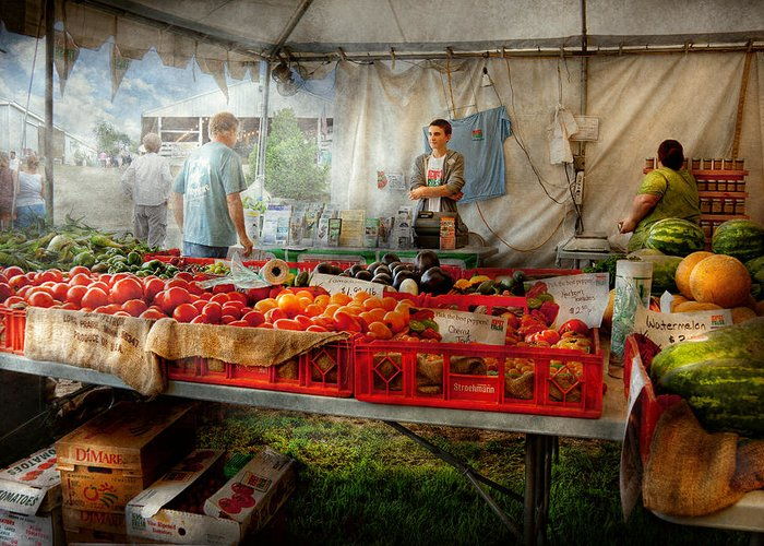 Chef Greeting Card featuring the photograph Chef - Vegetable - Jersey Fresh Farmers Market by Mike Savad
