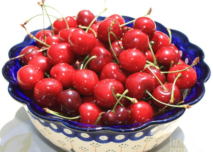 Cherries Greeting Card featuring the photograph Cherries In Blue Bowl by Carol Groenen