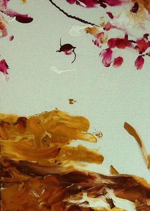 Cherry Blossoms Greeting Card featuring the painting Cherry Blossoms IIi by Luz Elena Aponte