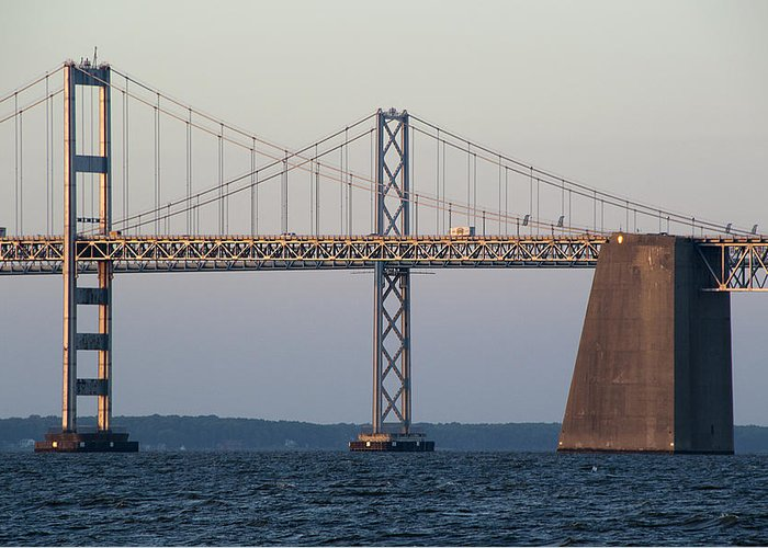 Chesapeake Greeting Card featuring the photograph Chesapeake Bay Bridge - Maryland by Brendan Reals