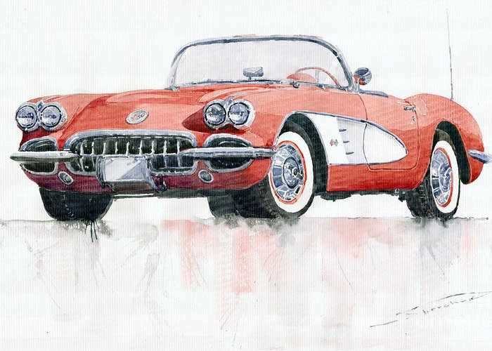 Watercolor Greeting Card featuring the painting Chevrolet Corvette C1 1960 by Yuriy Shevchuk