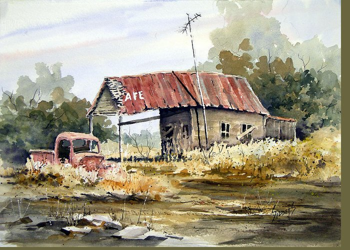 Rural Greeting Card featuring the painting Cheyenne Valley Station by Sam Sidders