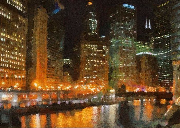 Chicago Greeting Card featuring the painting Chicago At Night by Jeff Kolker