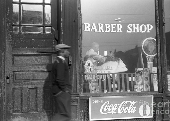 1941 Greeting Card featuring the photograph Chicago: Barber Shop, 1941 by Granger