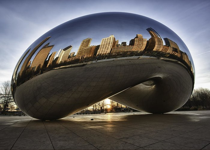 Architecture Greeting Card featuring the photograph Chicago Cloud Gate At Sunrise by Sebastian Musial