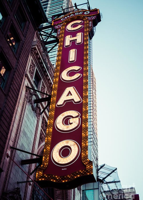 America Greeting Card featuring the photograph Chicago Theatre Marquee Sign Vintage by Paul Velgos