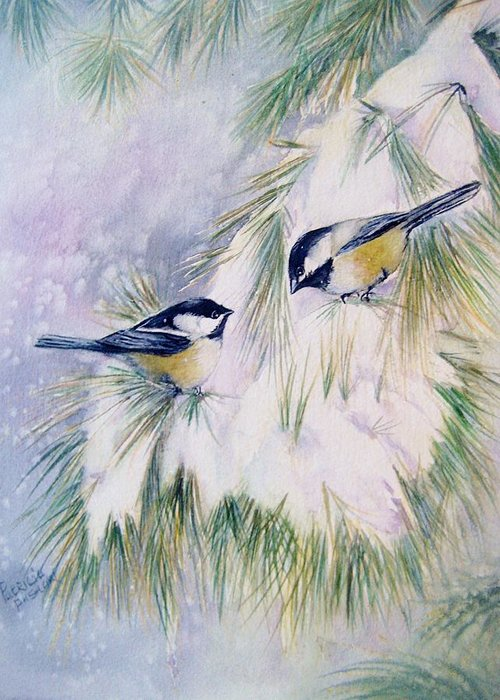Blackcapped Chickadees Greeting Card featuring the painting Chickadee Chat by Patricia Pushaw