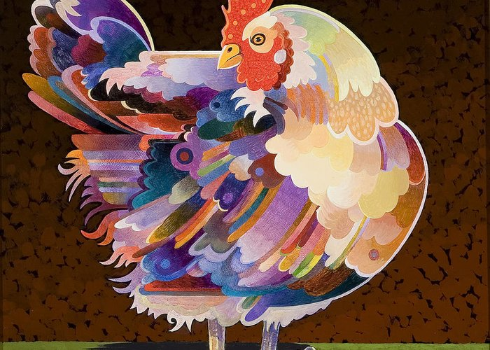 Chicken Greeting Card featuring the painting Chicken From Jamestown by Bob Coonts