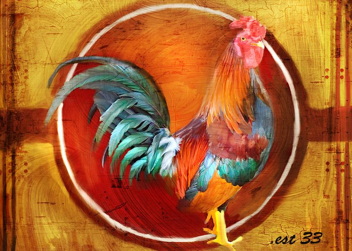 Rooster Greeting Card featuring the digital art Chicken Little by Joel Payne