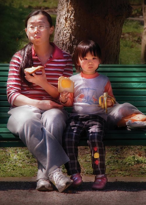 Savad Greeting Card featuring the photograph Children - Balanced Meal by Mike Savad