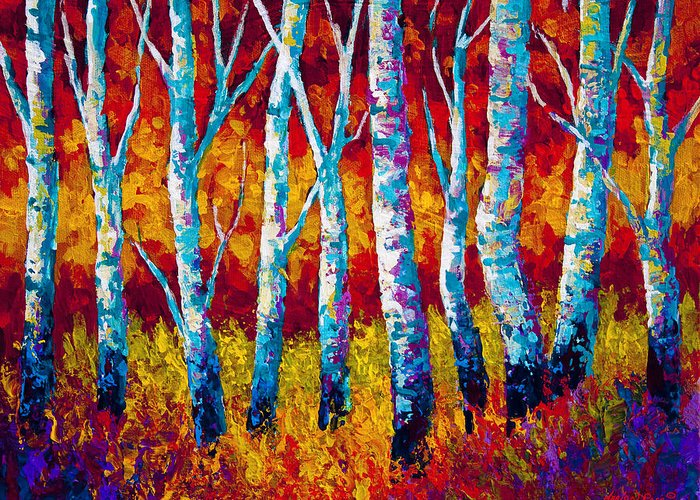 Trees Greeting Card featuring the painting Chill In The Air by Marion Rose