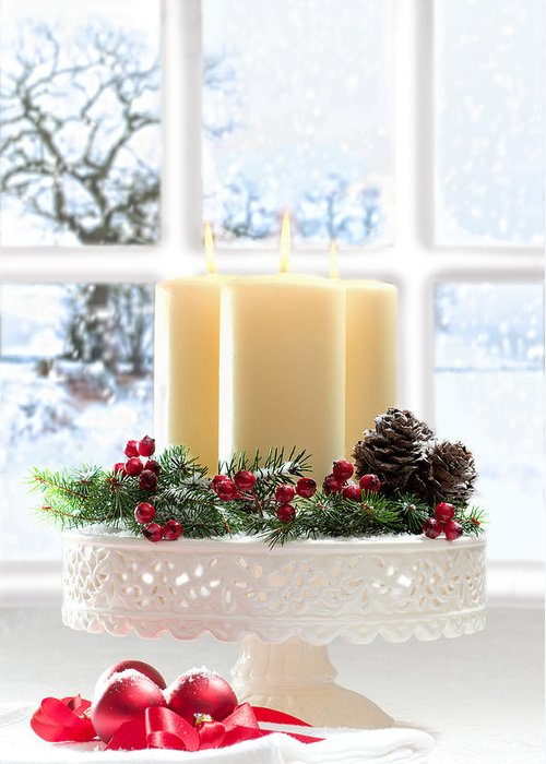 Christmas Greeting Card featuring the photograph Christmas Candles Display by Amanda And Christopher Elwell