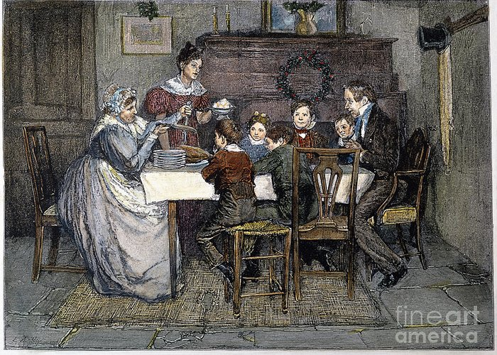 19th Century Greeting Card featuring the drawing Christmas Carol by Granger
