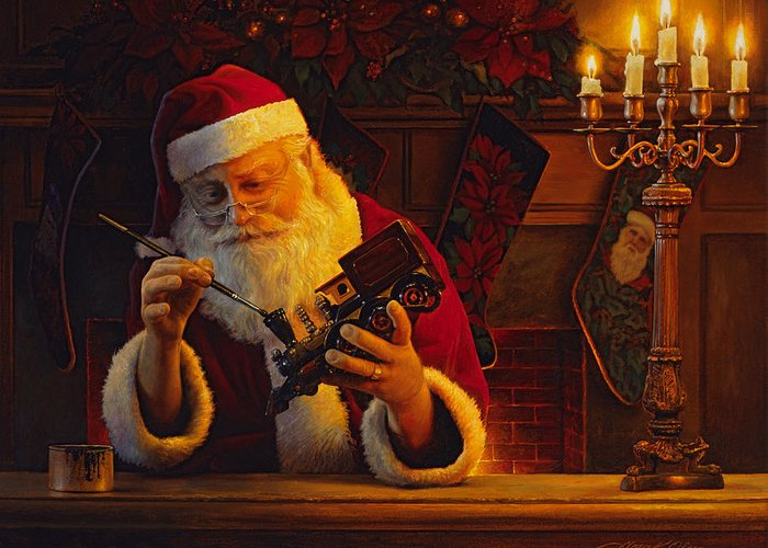Christmas Greeting Card featuring the painting Christmas Eve Touch Up by Greg Olsen