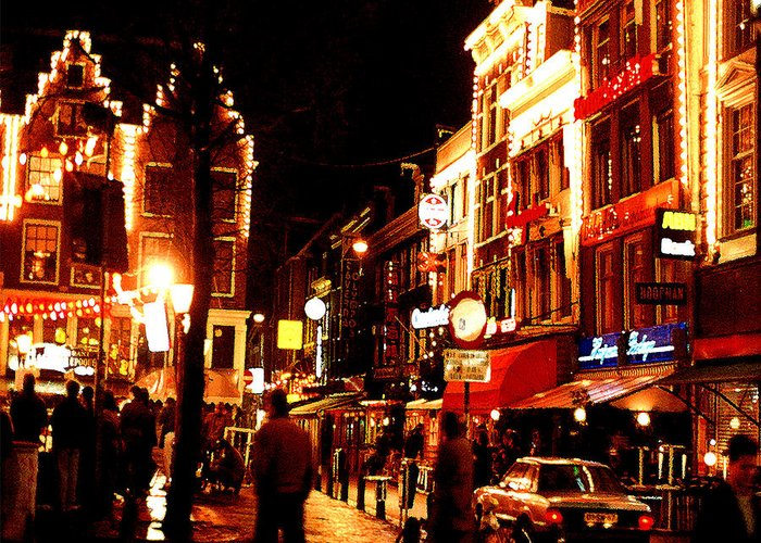 Night Greeting Card featuring the photograph Christmas In Amsterdam by Nancy Mueller