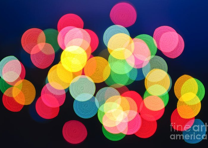 Blurred Greeting Card featuring the photograph Christmas Lights Abstract by Elena Elisseeva