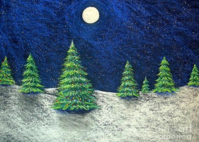 Christmas Greeting Card featuring the drawing Christmas Trees In The Snow by Nancy Mueller