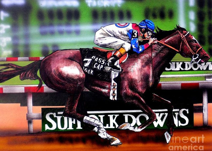 Racing Greeting Card featuring the painting Cigar by Dave Olsen