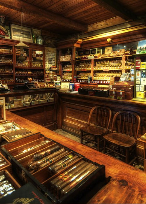 Art Greeting Card featuring the photograph Cigar Shop by Yhun Suarez