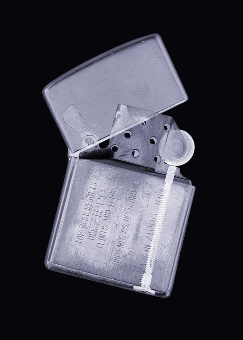 X-ray Greeting Card featuring the photograph Cigarette Lighter, Simulated X-ray by Mark Sykes