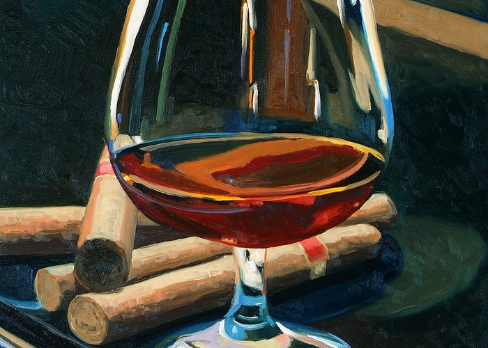 Hampden-sydney College Greeting Card featuring the painting Cigars And Brandy by Christopher Mize