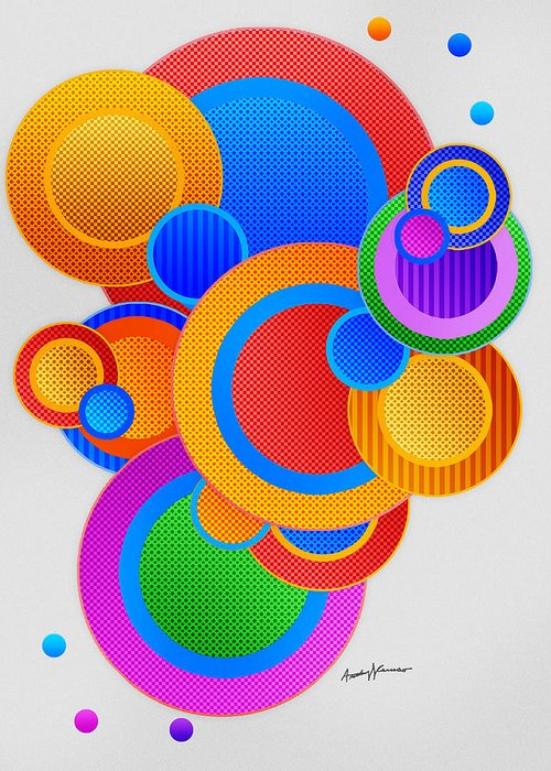 Abstract Greeting Card featuring the digital art Circles by Anthony Caruso