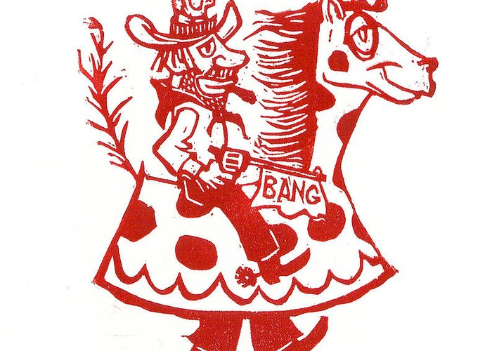 Circus Greeting Card featuring the painting Circus Cowboy by Barry Nelles Art