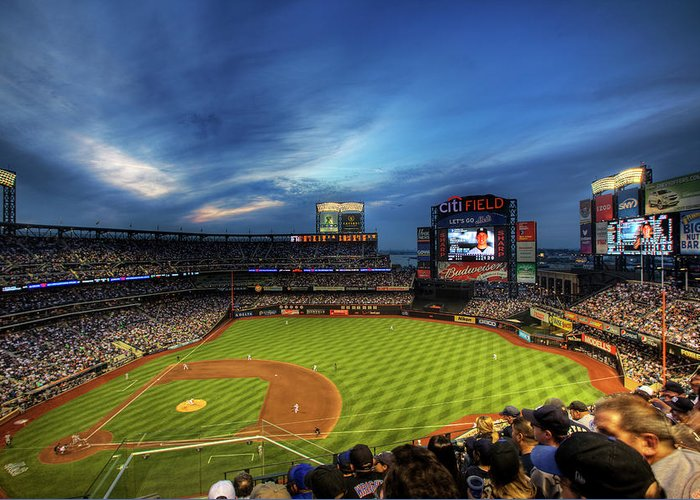 Citi Field Greeting Card featuring the photograph Citi Field Twilight by Shawn Everhart