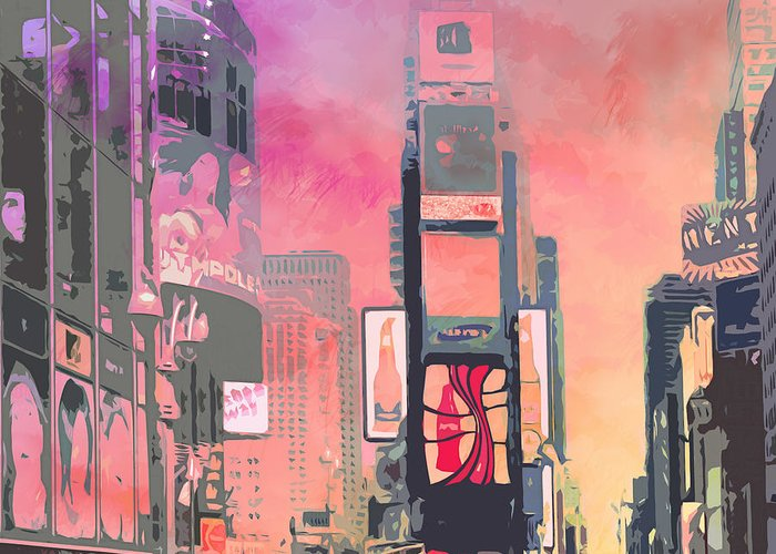 Usa Greeting Card featuring the digital art City-art Ny Times Square by Melanie Viola