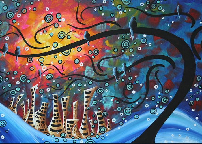 Art Greeting Card featuring the painting City By The Sea By Madart by Megan Duncanson