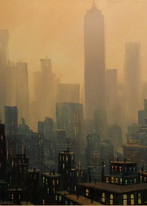 Chicago Greeting Card featuring the painting City Haze by Tom Shropshire