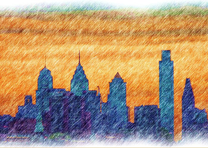 City Greeting Card featuring the photograph City In Pencil by Thomas MacPherson Jr