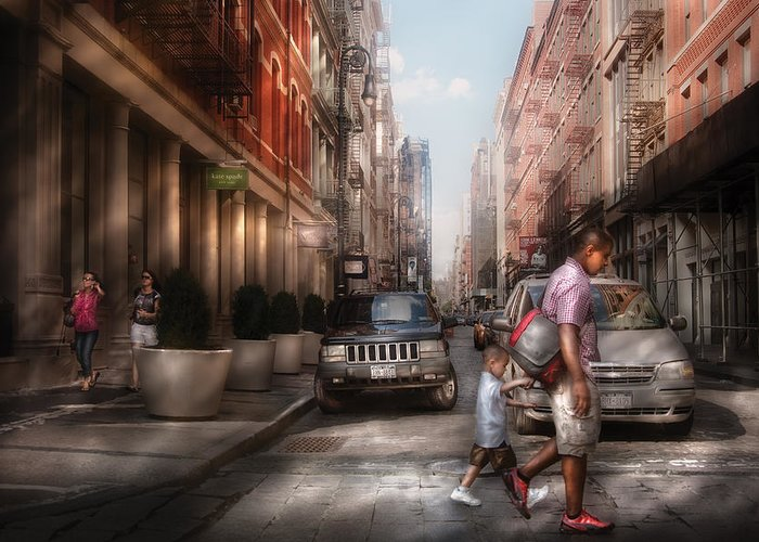 Savad Greeting Card featuring the photograph City - Ny - Walking Down Mercer Street by Mike Savad