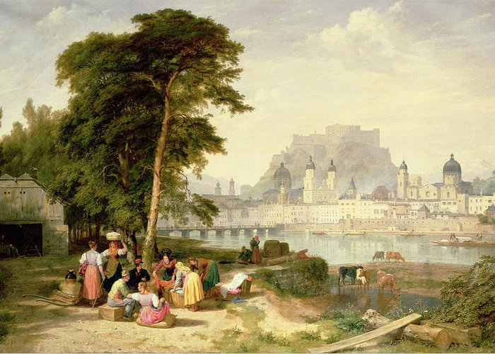 City Greeting Card featuring the painting City Of Salzburg by Philip Hutchins Rogers