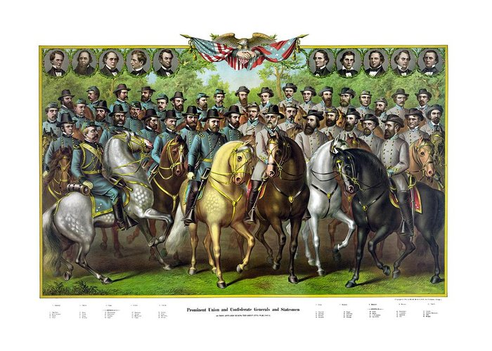 Civil War Greeting Card featuring the painting Civil War Generals And Statesman With Names by War Is Hell Store