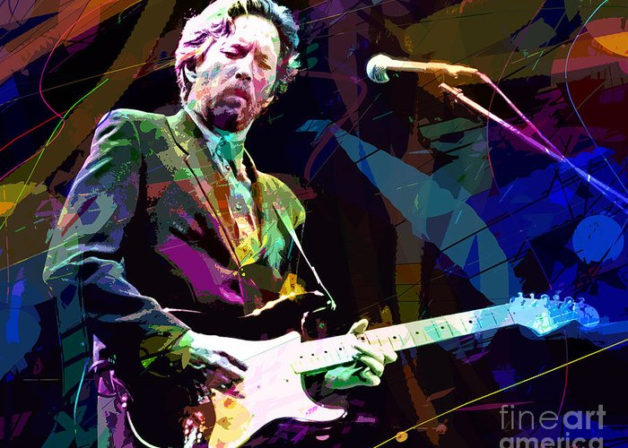 Eric Clapton Greeting Card featuring the painting Clapton Live by David Lloyd Glover