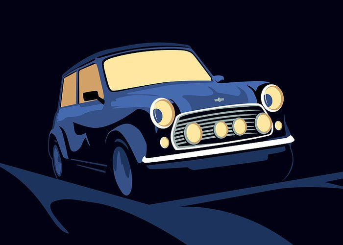 Mini Cooper Greeting Card featuring the digital art Classic Mini Cooper In Blue by Michael Tompsett