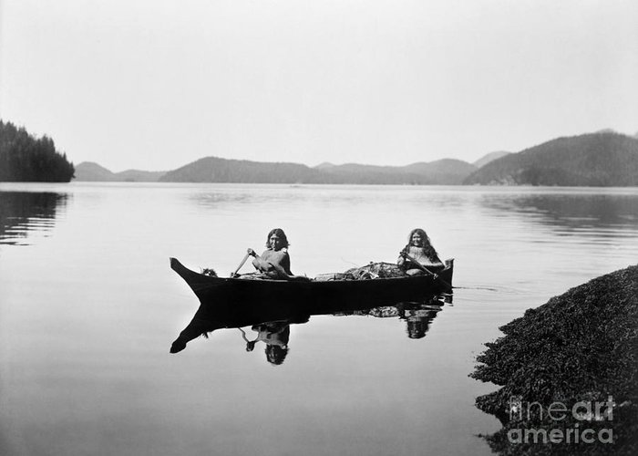 1910 Greeting Card featuring the photograph Clayoquot Canoe, C1910 by Granger