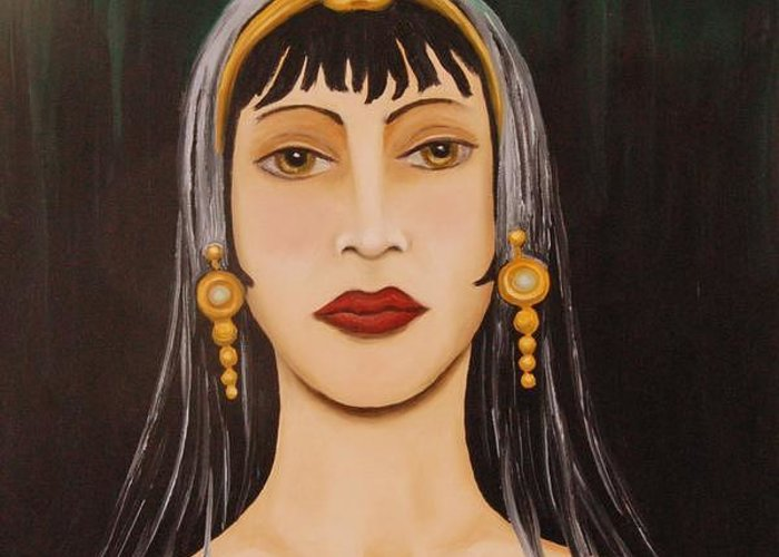 Tiara Greeting Card featuring the painting Cleo by Leah Saulnier The Painting Maniac