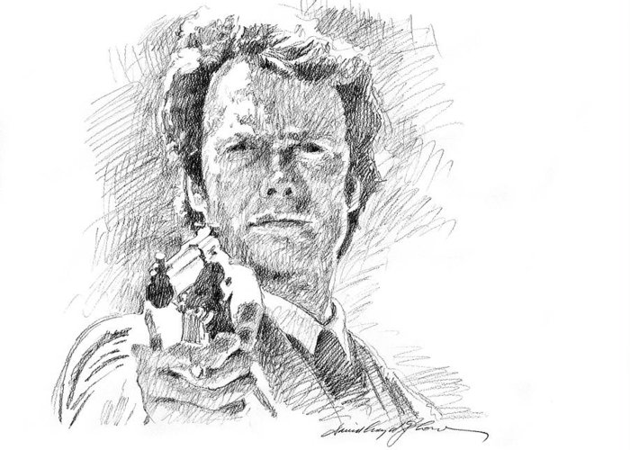Clint Eastwood Greeting Card featuring the drawing Clint Eastwood As Callahan by David Lloyd Glover