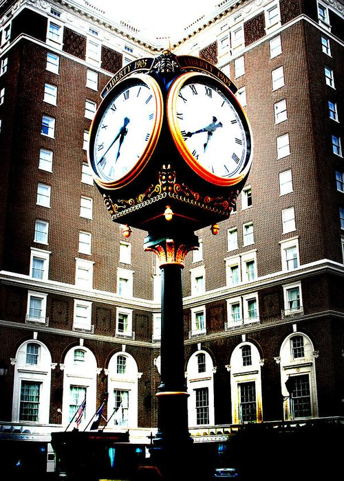 Westin Poinsett Greeting Card featuring the photograph Clock by Kelly Hazel