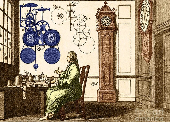Engraving Greeting Card featuring the photograph Clockmaker by Photo Researchers