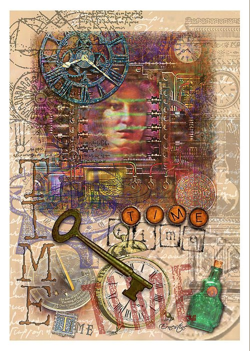 Collage Greeting Card featuring the mixed media Clockworks by Ernestine Grindal